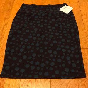 Lularoe Cassie skirt purple blue polkadots Large